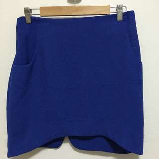Blue Mini Skirt With Pockets - Size 12