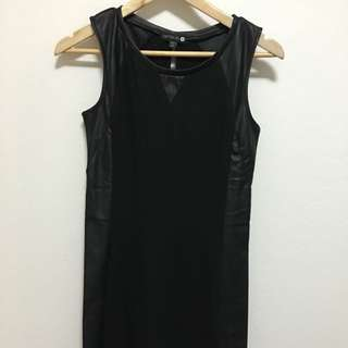 Cotton On Bodycon Dress With Faux Leather Sides - Size (M)