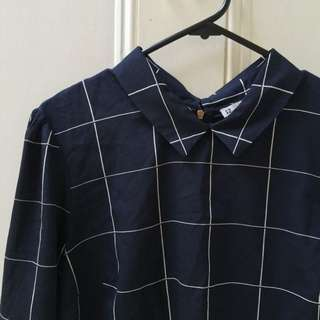 Navy Collared Grid Pattern Shirt
