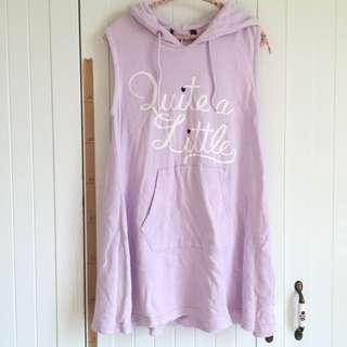 降↓↓↓日本Heather品牌 粉紫色無袖連帽口袋背心散狀洋裝裙