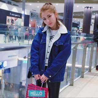 韓國空運 牛仔羔羊領寬版質感保暖外套