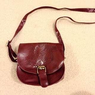 Vintage Maroon Side Strand Bag