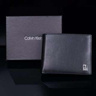 🚚 新款 CK 真皮皮夾 男用真皮短夾 橫款 禮盒+提袋+代購小票