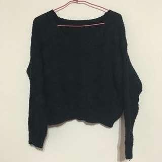 深藍色V領針織毛衣