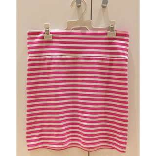 Pink And White Striped Tight Skirt