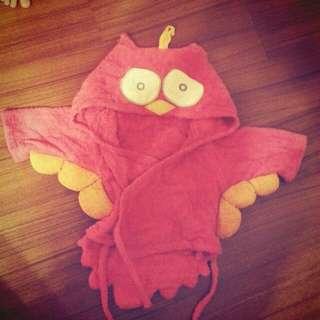 可愛貓頭鷹 💖 桃色寶寶浴袍 造型連帽斗篷