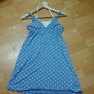 *軟軟*水藍白點連身裙(假二件)