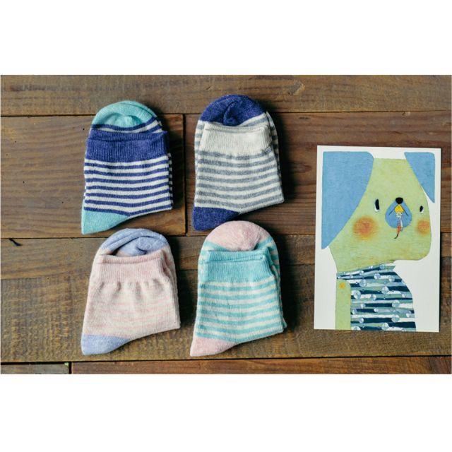 春季可愛條紋純棉童襪一雙$70/三雙$200
