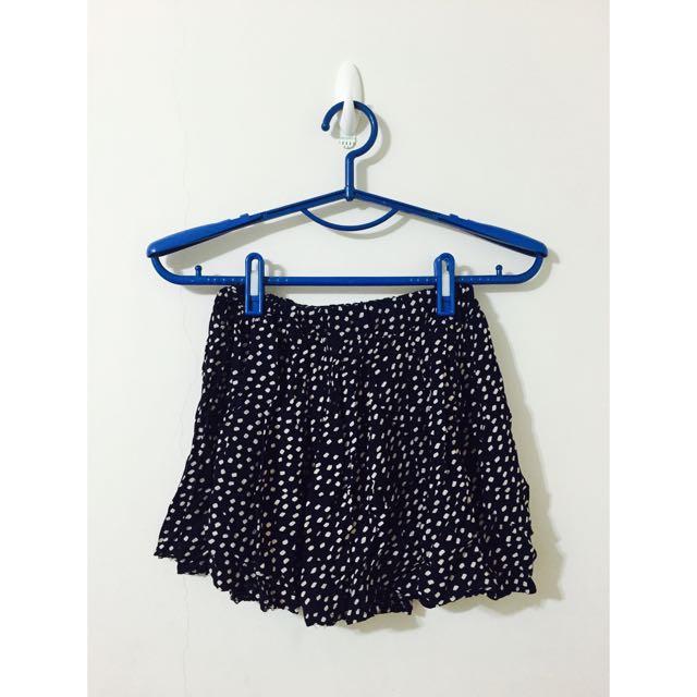 藍底粉紅點點短裙(有內襯)