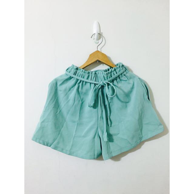蘋果綠雪紡綁帶短褲/褲裙