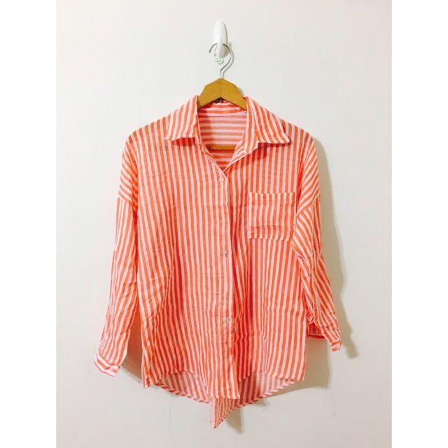 亮橘條紋棉麻襯衫