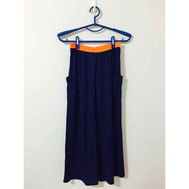深藍色雙口袋棉質長裙