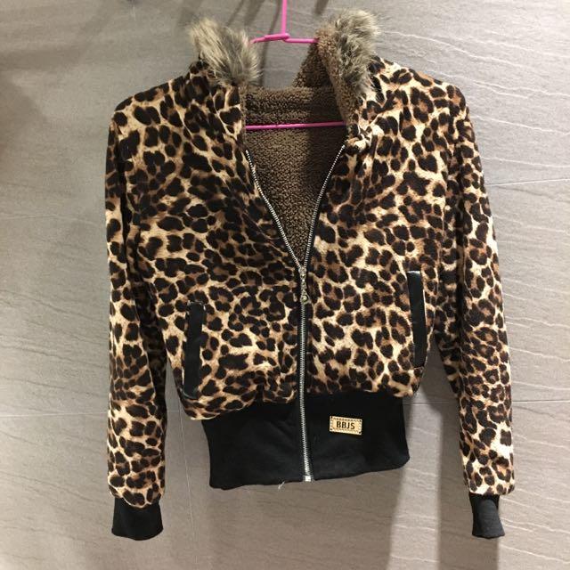 豹紋連帽縮腰保暖外套