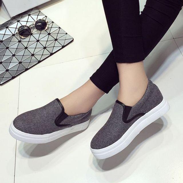 現貨-女士韓版帆布厚底休閒鞋