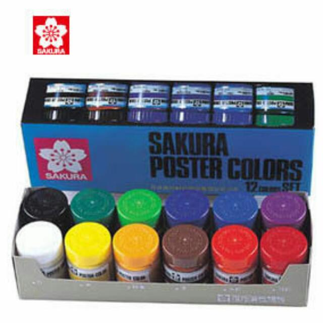 (全新)櫻花 30cc 廣告顏料12色組 /盒