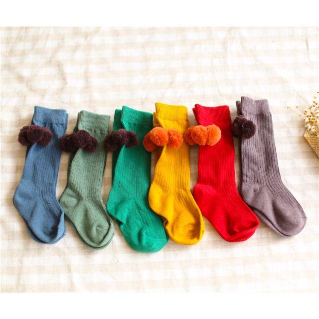 韓版毛球球男女童 素色百搭中筒襪