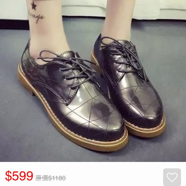 (二手)白鳥麗子 漆皮花紋綁帶牛津鞋