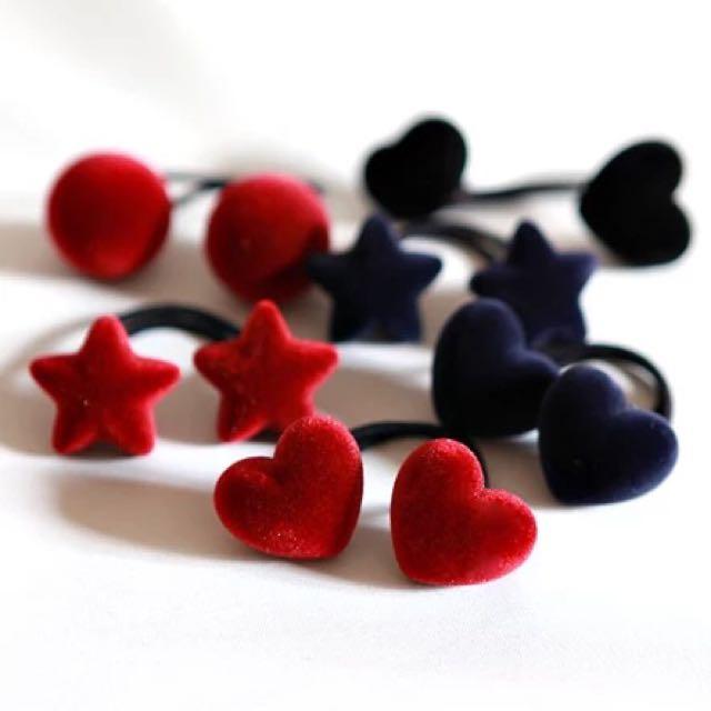 韓國可愛~星星🌟愛心💓橡皮筋頭 絲絨布星星愛心髮圈 桃心 一組2對