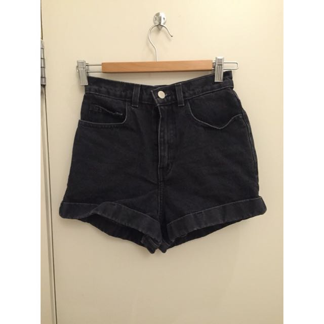 American Apparel Black High Waisted Shorts Size 25