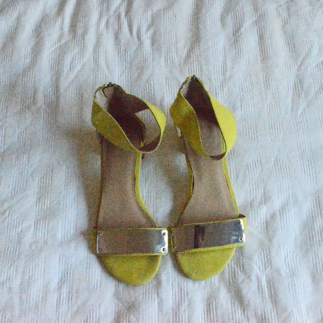 ASOS Chartreuse Neon Yellow Silver Sandles