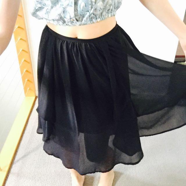 Black Soft Chiffon Skirt Size6-8