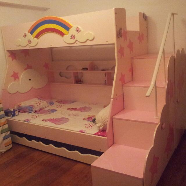 Double Deck Bed Frame For Kids Pull Out Bed Frame Furniture On