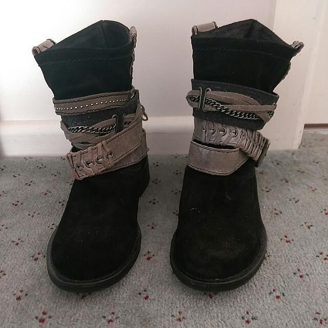 NEW Leather Strappy Boots, Shoes