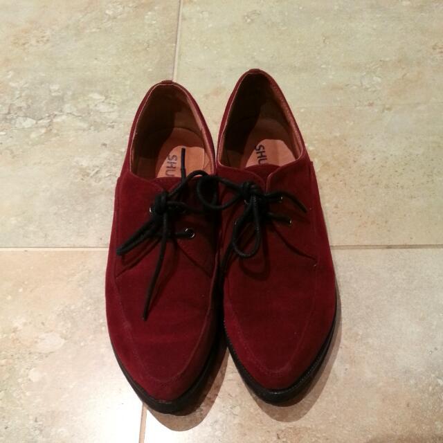 Shubar macey Burgundy Velvet Shoes Size 37