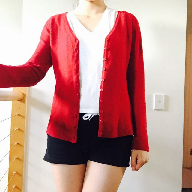 Size 8, Wool Cardigan in china red colour