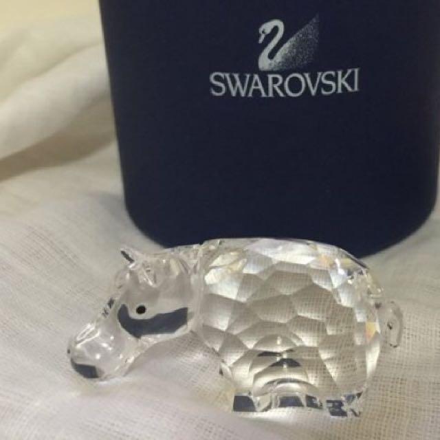 奧地利Swarovski施華洛世奇水晶-河馬 擺飾品(限量hippo河馬造型、專櫃品)