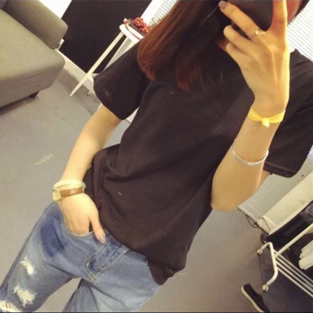 (降價)✨全新韓短袖版黑素t