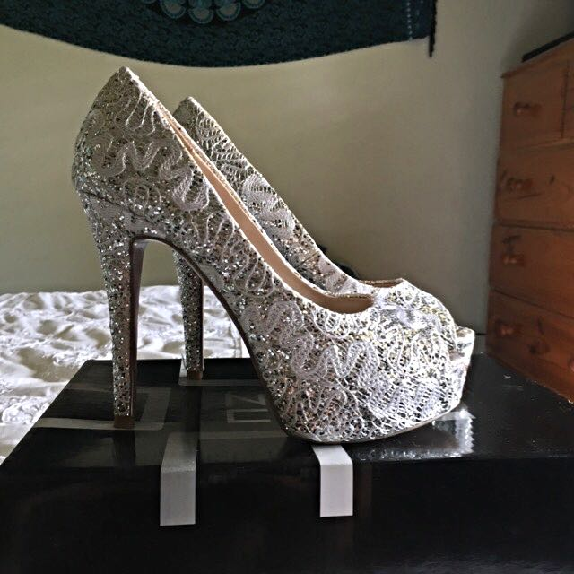 White Lace 7 1/2 Evening Heels