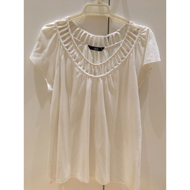 White T-shirt With Netted Collar