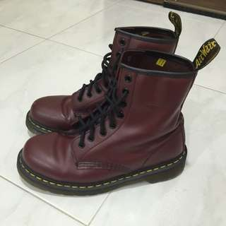 Dr Martens Boots In Cherry Red