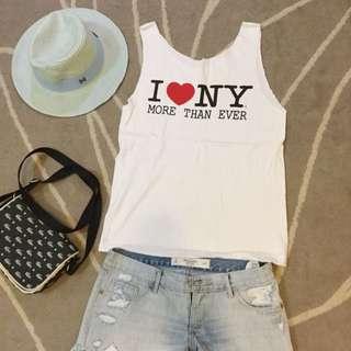 (已售出)全新紐約帶回I Love NY手剪棉質無袖背心