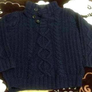 GAP 保暖深藍毛衣 /  淺棕色