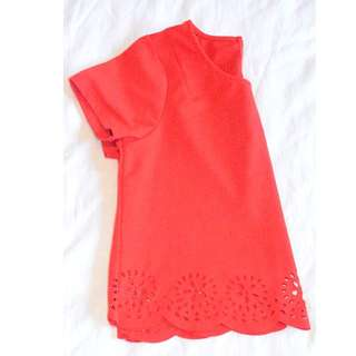 Red Laser Cut Out Crop Top - Size M