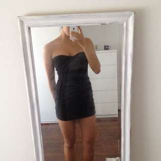 Black Strapless Bandage Bodycon Mini Dress
