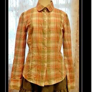 'epanuior 粉色金線格紋衫
