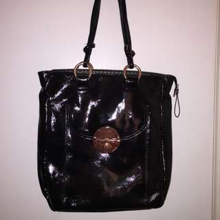 Mimco Black And Rose Gold Tote Bag Patent Leather
