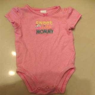 🚚 Carter's女寶短袖公主袖粉紅條紋包屁衣3M