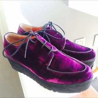 Royal Deep Purple Platform Shoes Size 7 Eur 38
