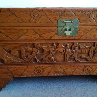 Wooden Carved Chest/ Blanket Box