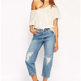 ASOS Maddox Parallel Jeans In Stevie Mid Wash Blue With Knee Rip And Repair