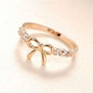 簡約鑲鉆蝴蝶結戒指