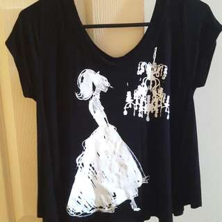 Black Crop Top With Flared Sides