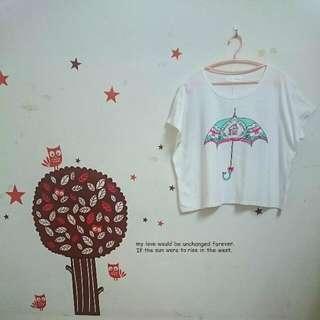 TOKYO FASHION 精製小傘圖案 寬版 短T恤 上衣