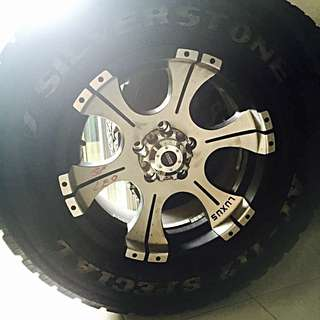 "4pcs Offset 4x4 Rims 16"" With Silverstone AT Tyres"