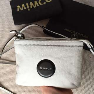 Mimco secret couch white LEATHER matt White plating
