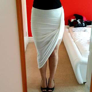 White One Leg Skirt